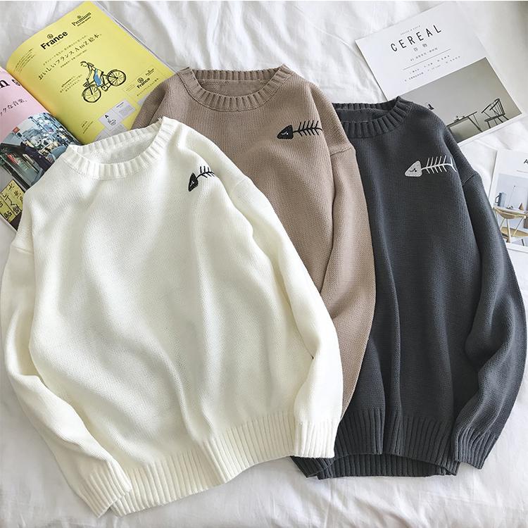 De los hombres de moda Coreana de la personalidad de los estudiantes Cuerpo inferior sueltas suéteres de punto por encargo