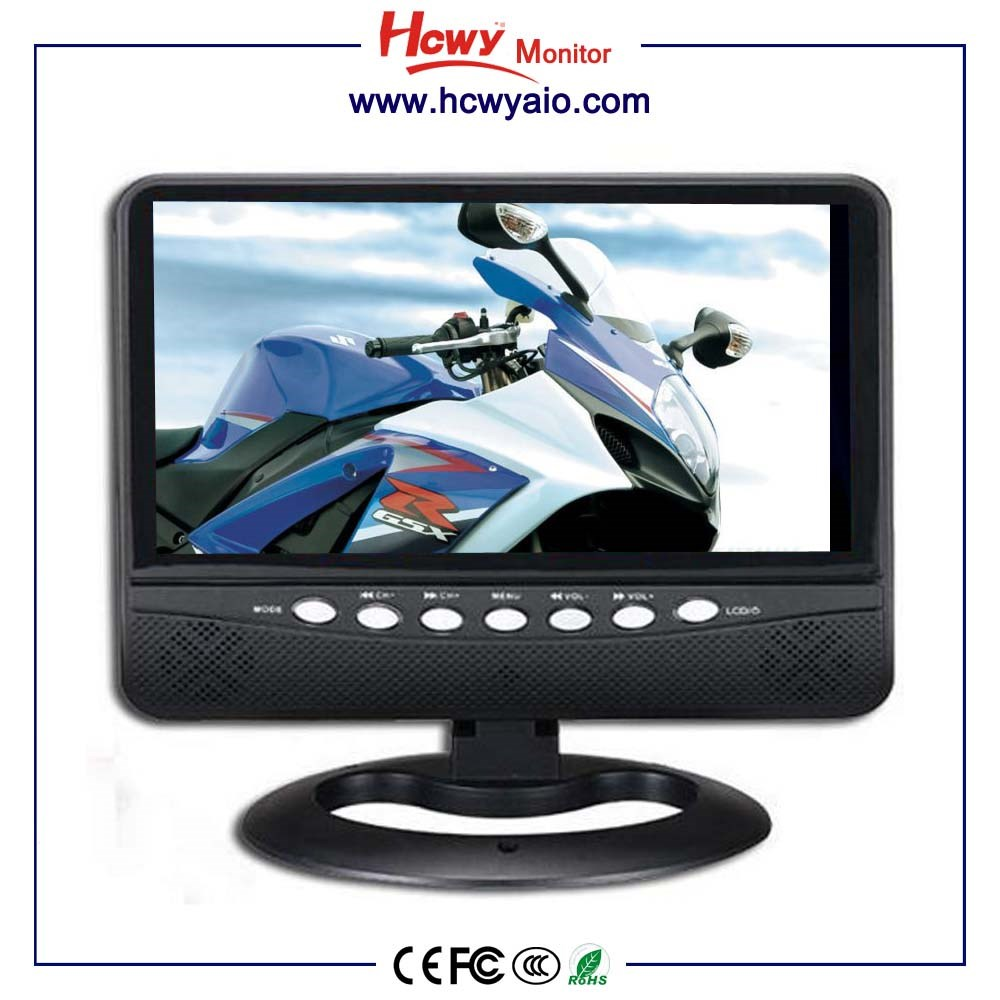 CE RoHs FCC Certificate 9inch Rechargeable 720P Digital Portable TV With FM Radio Function & 3D Function