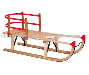 quality handmade traditional beech wood snow sled with seat
