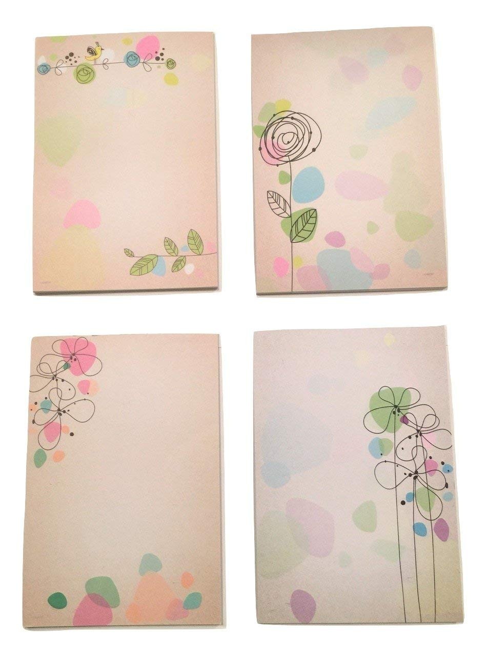 "Nature Themed Brown Kraft Note Pads ~ Set of 4 (Gold Finch, Rose, Colorful Flower Heads, Flowers Standing Tall; 4"" x 6""; 40 Sheets Per Pad)"