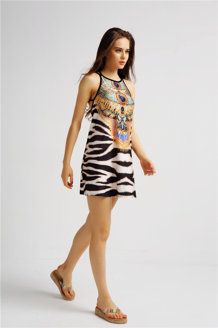 Backless Printing Women Wholesale fashion Sexy evening Digital Tank Dress