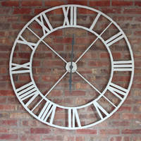 Wholesale Extra Large Retro Wrought Iron Antique White Metal Clock With Roman Numerals