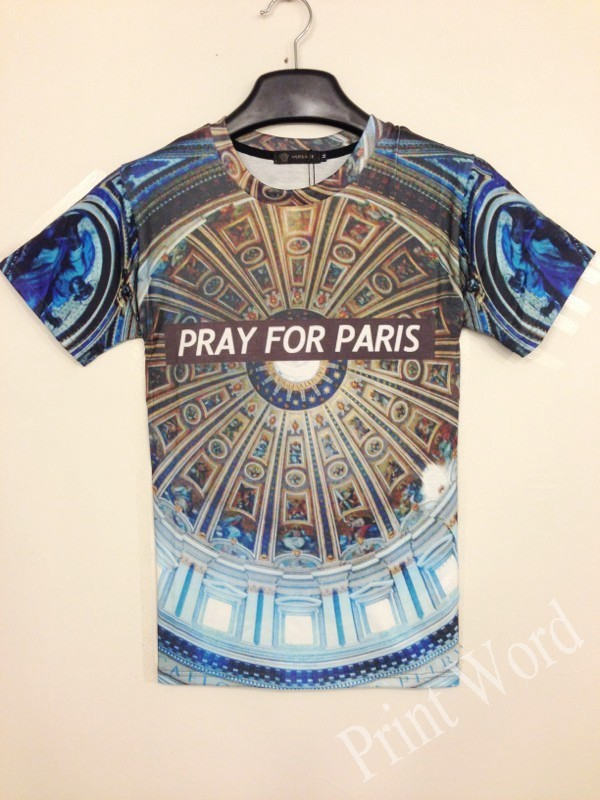 2015 Unisxe хип-хоп свободного покроя майка молиться за париж футболки для мужчин майка футболки tshirt женщины футболки топы ти camisetas добычу