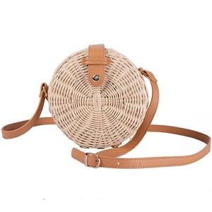 JAKIJAYI cheap women beach straw shoulder bags bali round rattan bag with leather strap