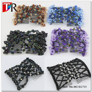 HOT Sale Fashion Beaded Frech Twist Stretch Double Hair Clips Handmade Flower Magic Hair Combs