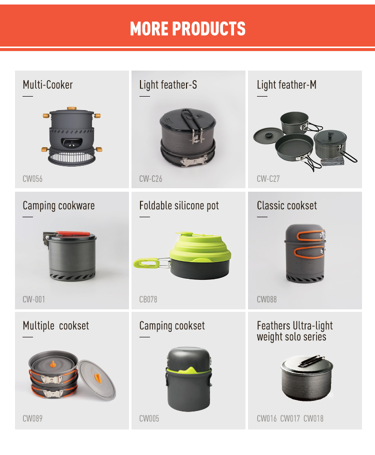 Wholesale portable camping outdoor Aluminium cooking non stick non-stick cookware set pots sets cookware