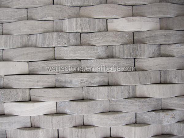 Madera Gris Mosaico De Marmolcurvada En Forma Paneles Para Pared - Paneles-para-paredes-interiores