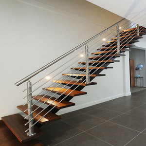 luxury straight staircase / modern design steel structure timber stair