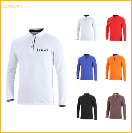 Mens Bedrukte & Emboridered Softtextile lange Mouw 100% Katoen Polo T-shirts Slim Fit Polo T-shirt