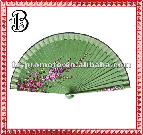 hand pained Spanish fabric fans green