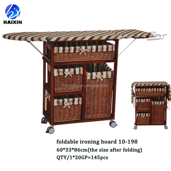 Wooden Ironing Board Table In Cabinet With Wheels And ...