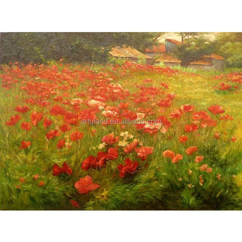 Purely handmade Museum quality Handmade Cloude monet reproduction of poppy flower painting