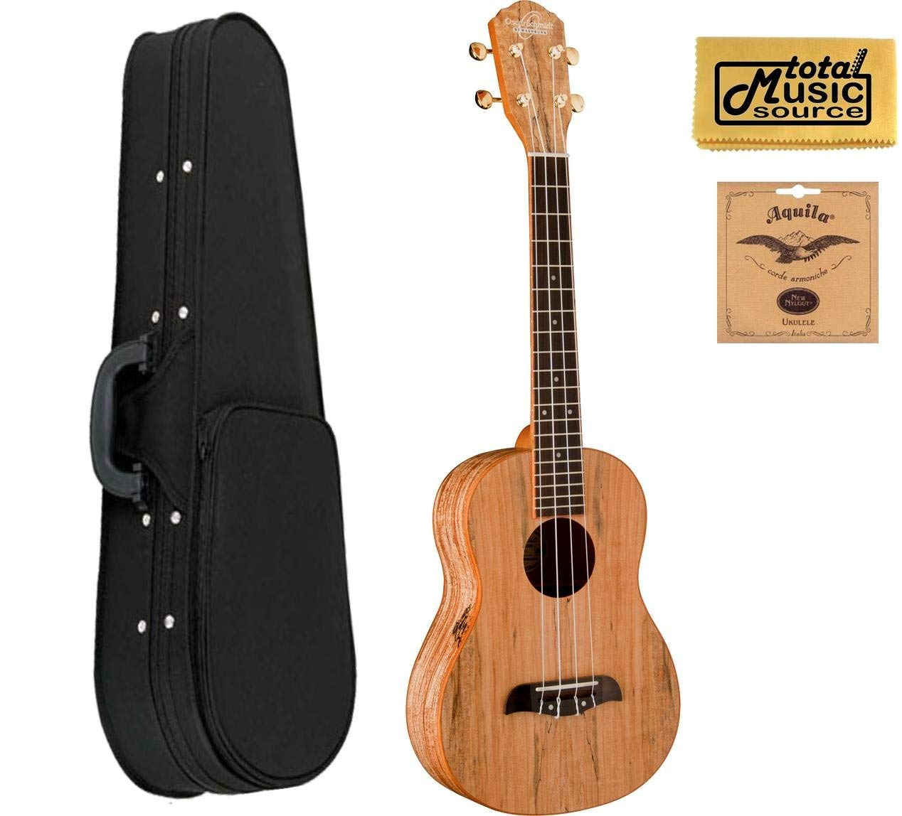 Oscar Schmidt OU8T Tenor Ukulele, Spalted Maple Top, Back and Sides, OU8T CASE 10U
