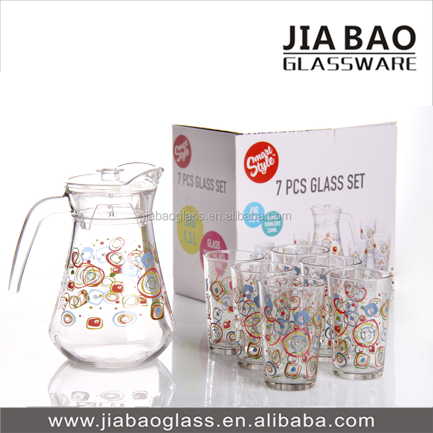 Deli Water Drinking Set With Rose Flower Printing 1pc Jug With ...