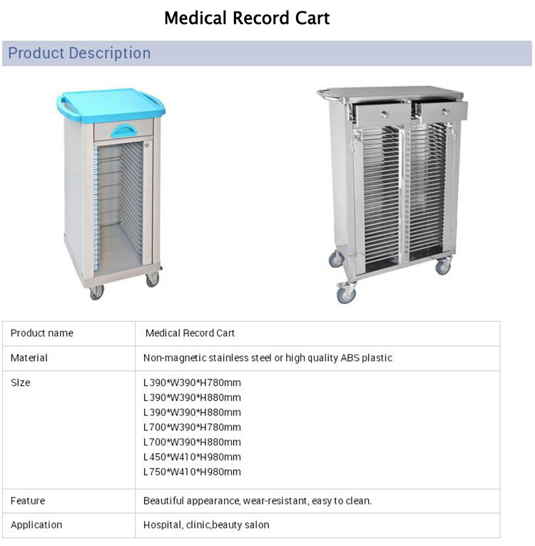 Movable Medical Record Carts Mobile Stainless Steel Medical Record File  Trolley - Buy Movable Medical Record Carts,Medical Record File