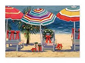 Christmas Cards - Box Set 16 Cards and 16 Envelopes - Christmas Beach - Decorated Beach Chairs, Presents on the Sand, Umbrellas and Decorated Palm Tree