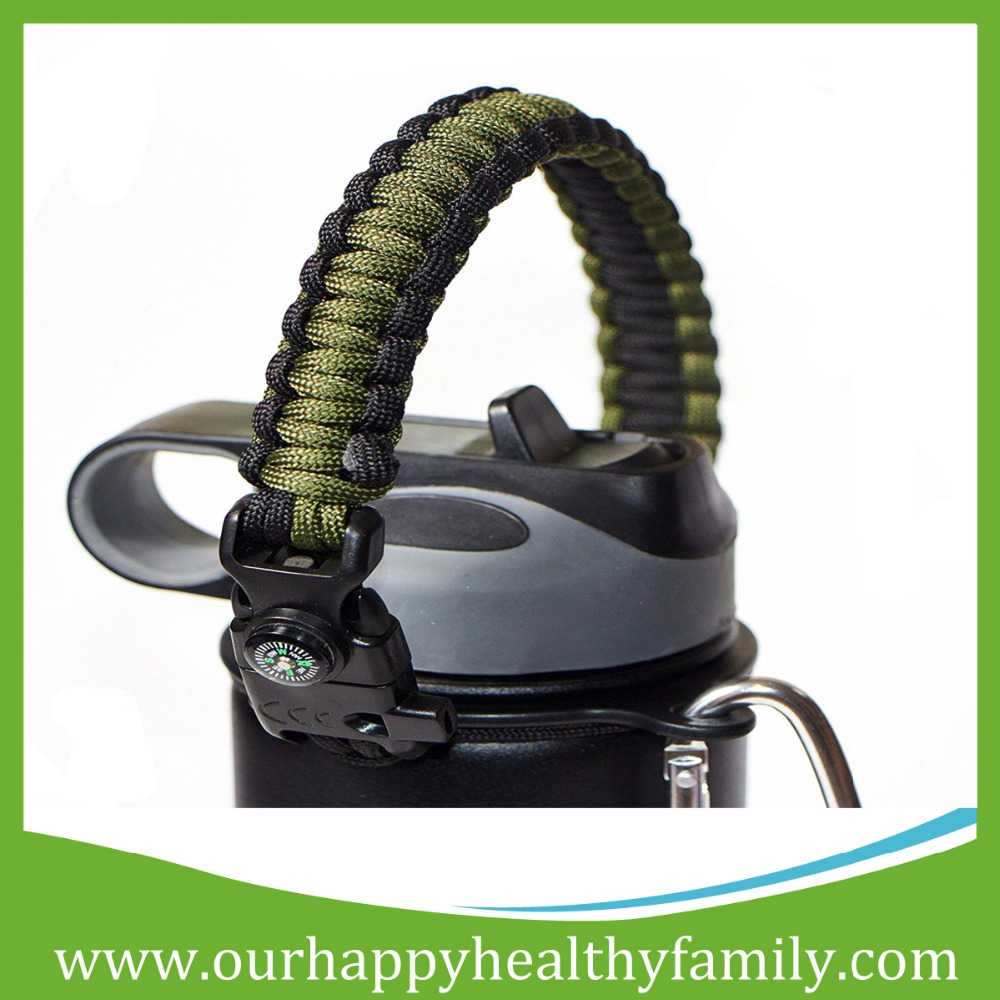 Paracord Carrier Survival Strap Cord with Safety Ring and Carabiner for Water Bottles