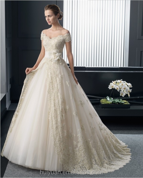 Champagne Elegant V Neck Ball Gown Lace Wedding Dress Cap Sleeves ...