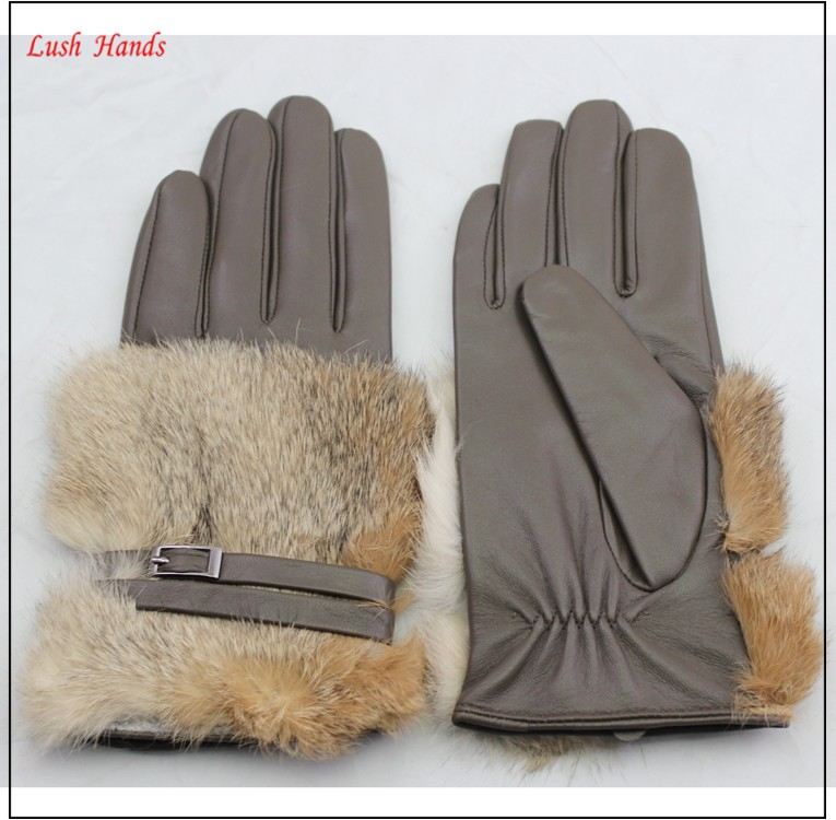 HZS-13048005 New style high wearing importers real rabbit fur fashion women leather gloves