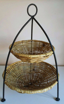 2 Tier Wicker Round Basket With Fruit Bowl Storage Stand And Wrought Iron  Frame