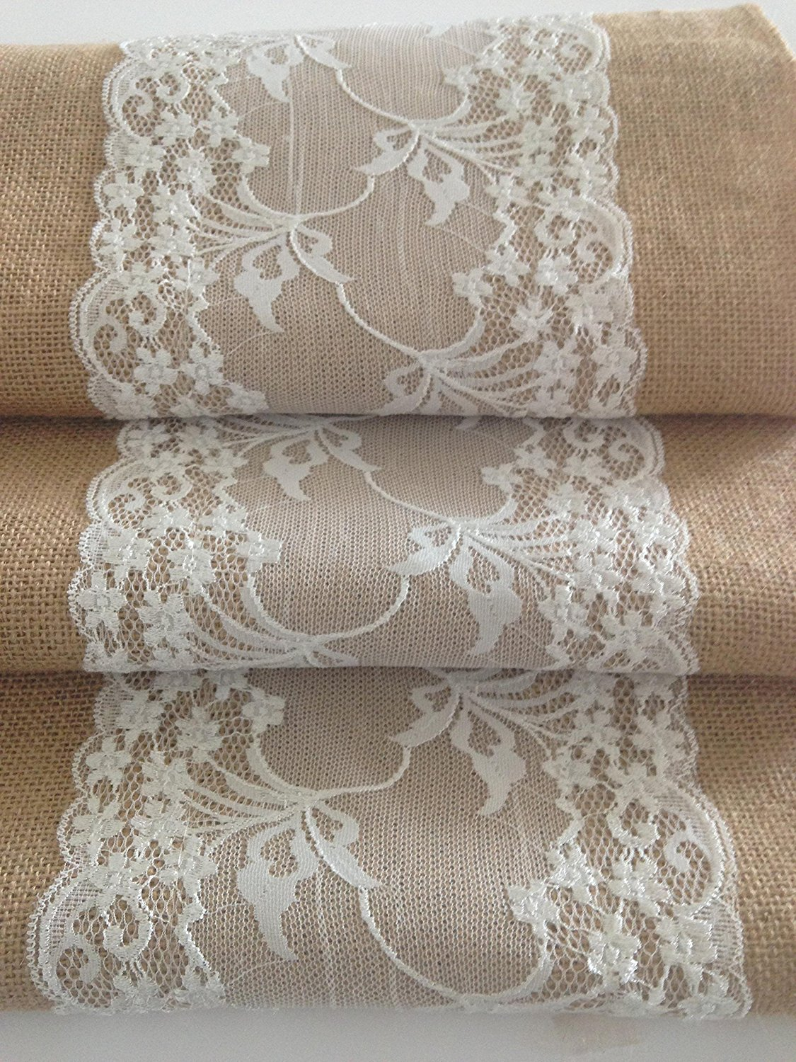 Burlap Table Runner With White Lace