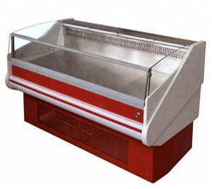 Dingfeng flat top open air curtain supermarket meat display refrigerator