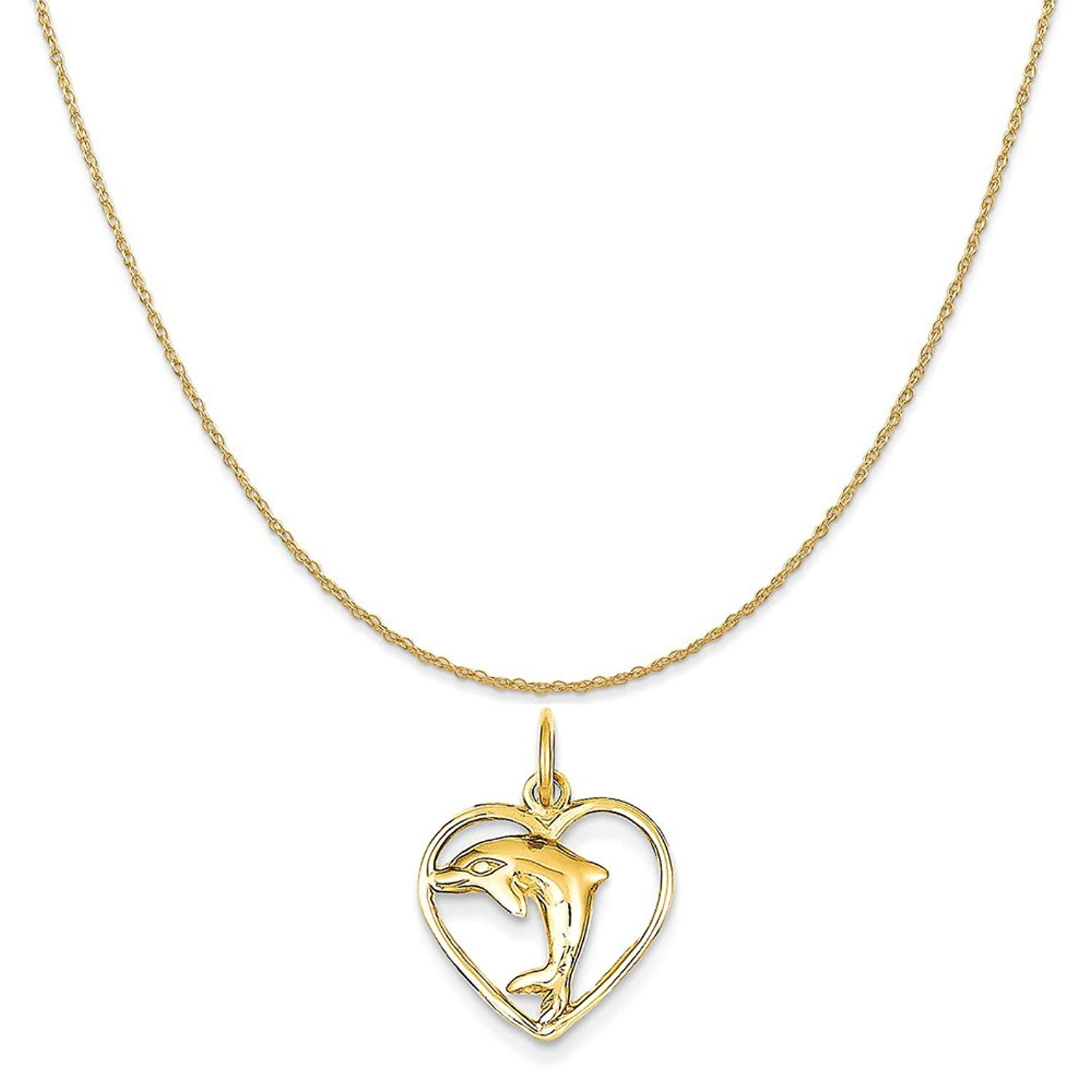 "14k Yellow Gold Dolphin in Heart Charm on a 14K Yellow Gold Rope Chain Necklace, 16""-20"""