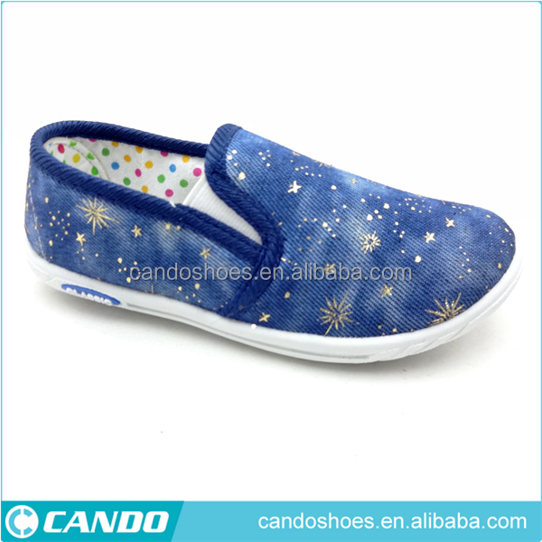 blue stylish canvas shoes boy top sale slip on shoes,stars printing shoes
