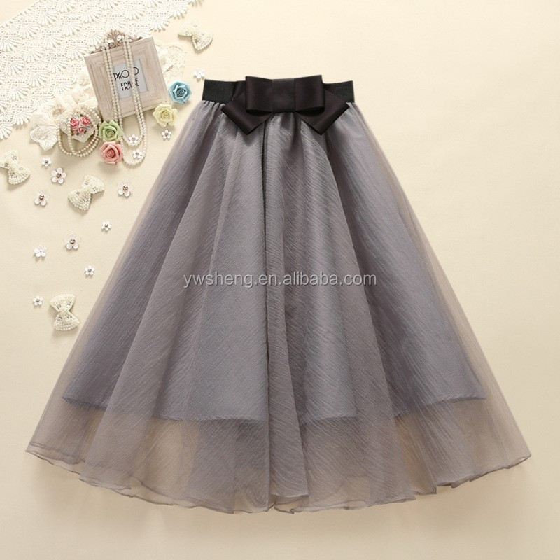 Fashion Women Korean Style Lady Solid Organza Long Chiffon Skirt For Women