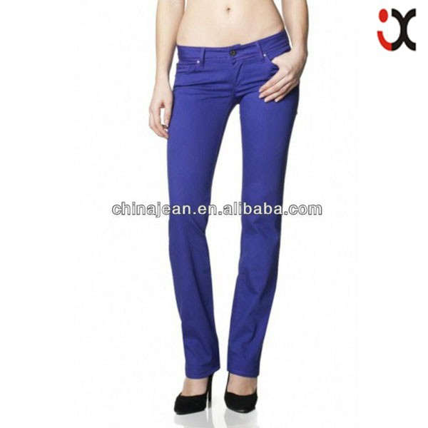 2017 fashion cheap colored straight jeans for women oem china jeans Colombia denim JXC29823