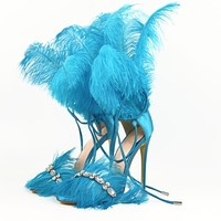 China Manufacturer Ladies Stiletto Shoes Sexy Women Genuine Fur High Heel Sandal