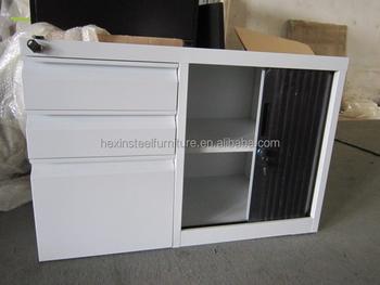 Tambour Door Caddy 3 Drawer Mobile Pedestal Steel Filing Cabinet Under Desk  Cabinet