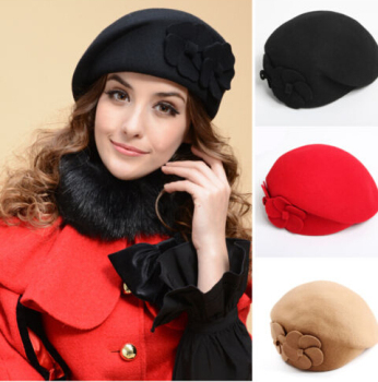 Women Fedora Angora Beret Beanie Wool Felt Winter Pillbox Flower Hat ... 15d45808468