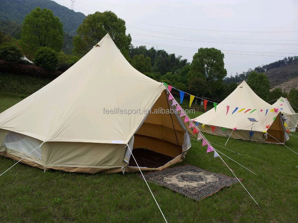 Outdoor camping fire resistant uk bell tent 5m