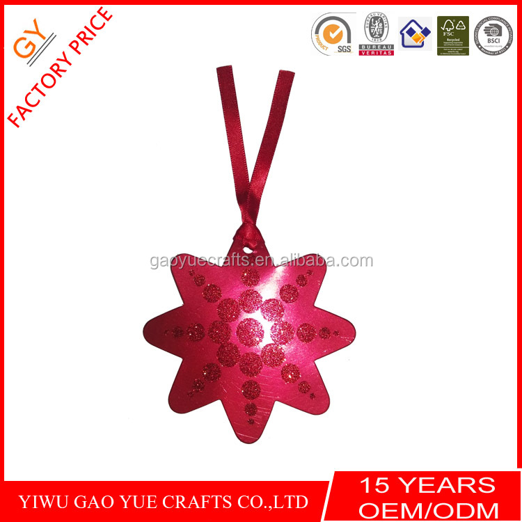 2017 samples custom require best sell red glitter gift tags with red satin ribbon from yiwu factory