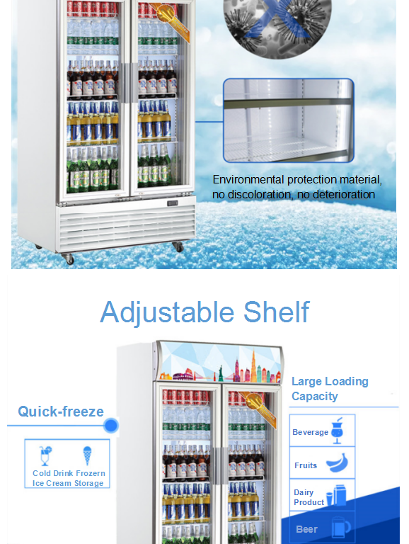 850L Fan Cooling Commercial Refrigerator Cold Drinks Display Chiller Cooler Vertical Double Glass Door Fridge