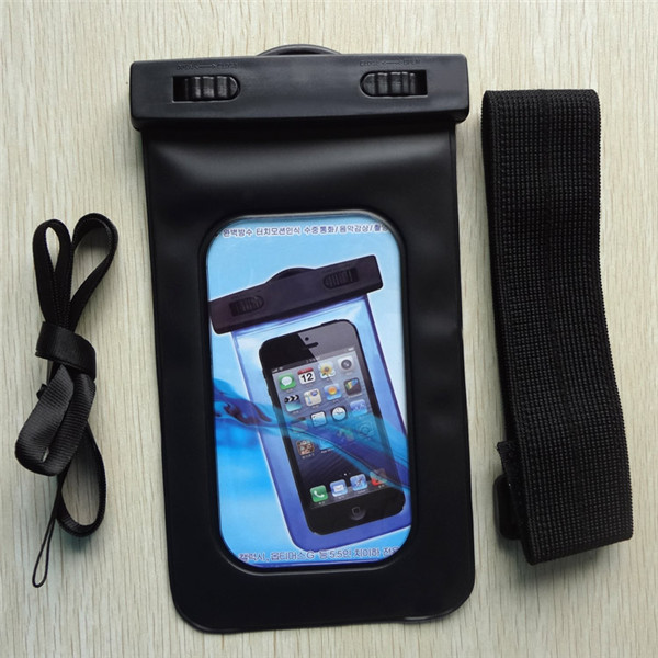 Good quality waterproof pouch for cell phone with neck cord and armband black swimming use for Sumsang Note 2