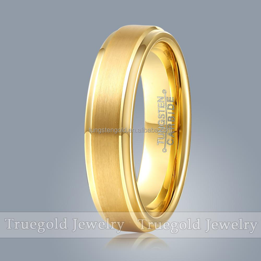 6mm centre brush step tungsten ring blank with gold plated