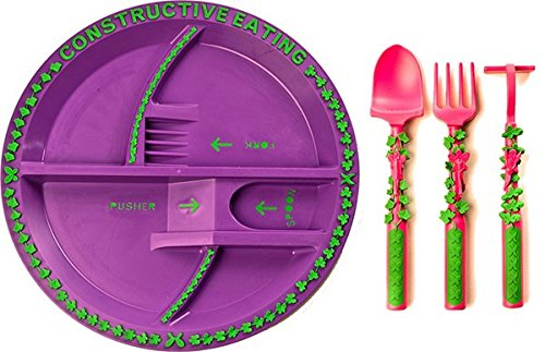 Constructive Eating Garden Fairy Plate + Utensil Set GFUTPL
