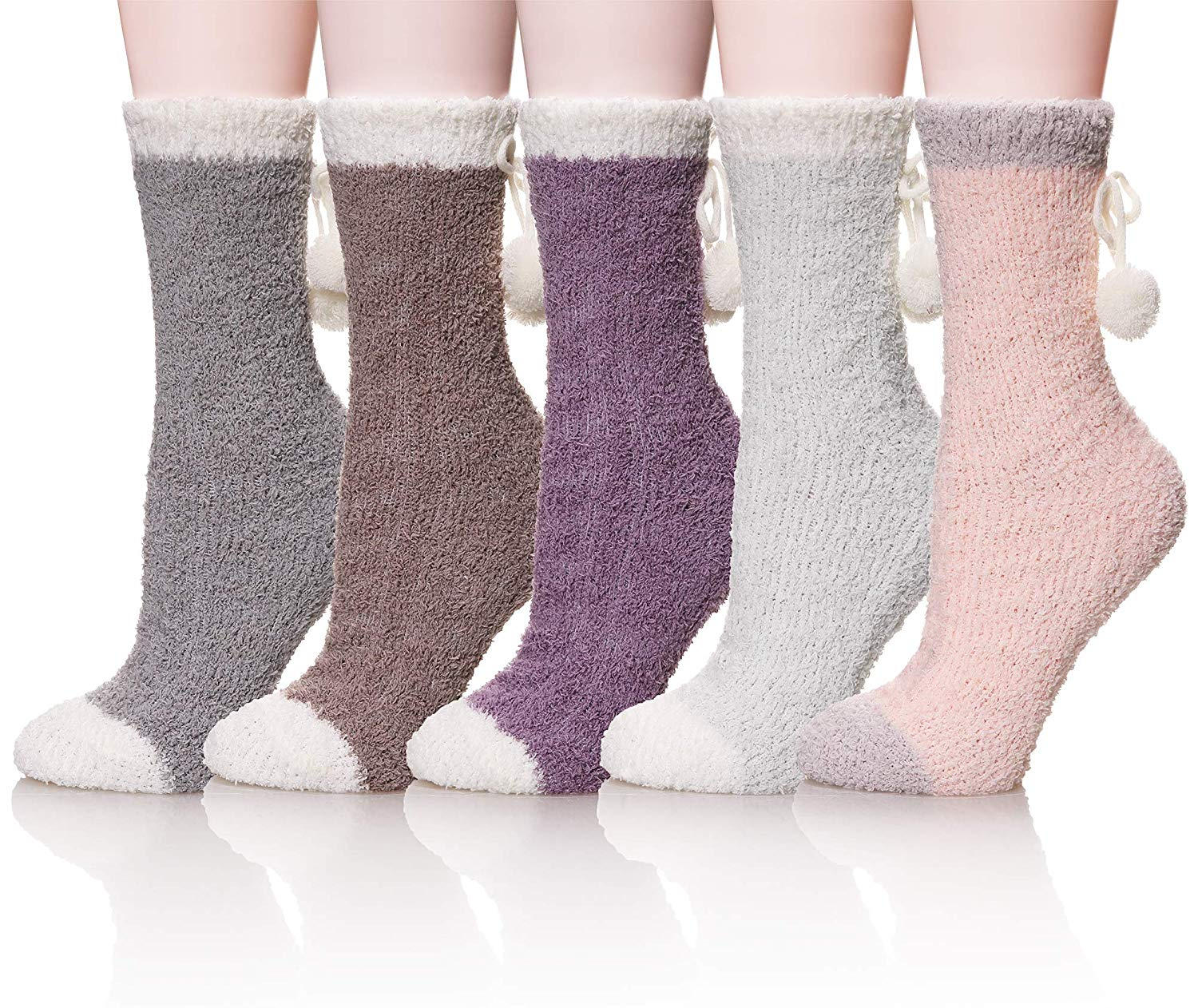 8fed6f8ac Get Quotations · Velice Womens Soft Warm Fuzzy Slipper Socks Fluffy Cute  Cozy Winter Christmas Home Socks 5 Pairs