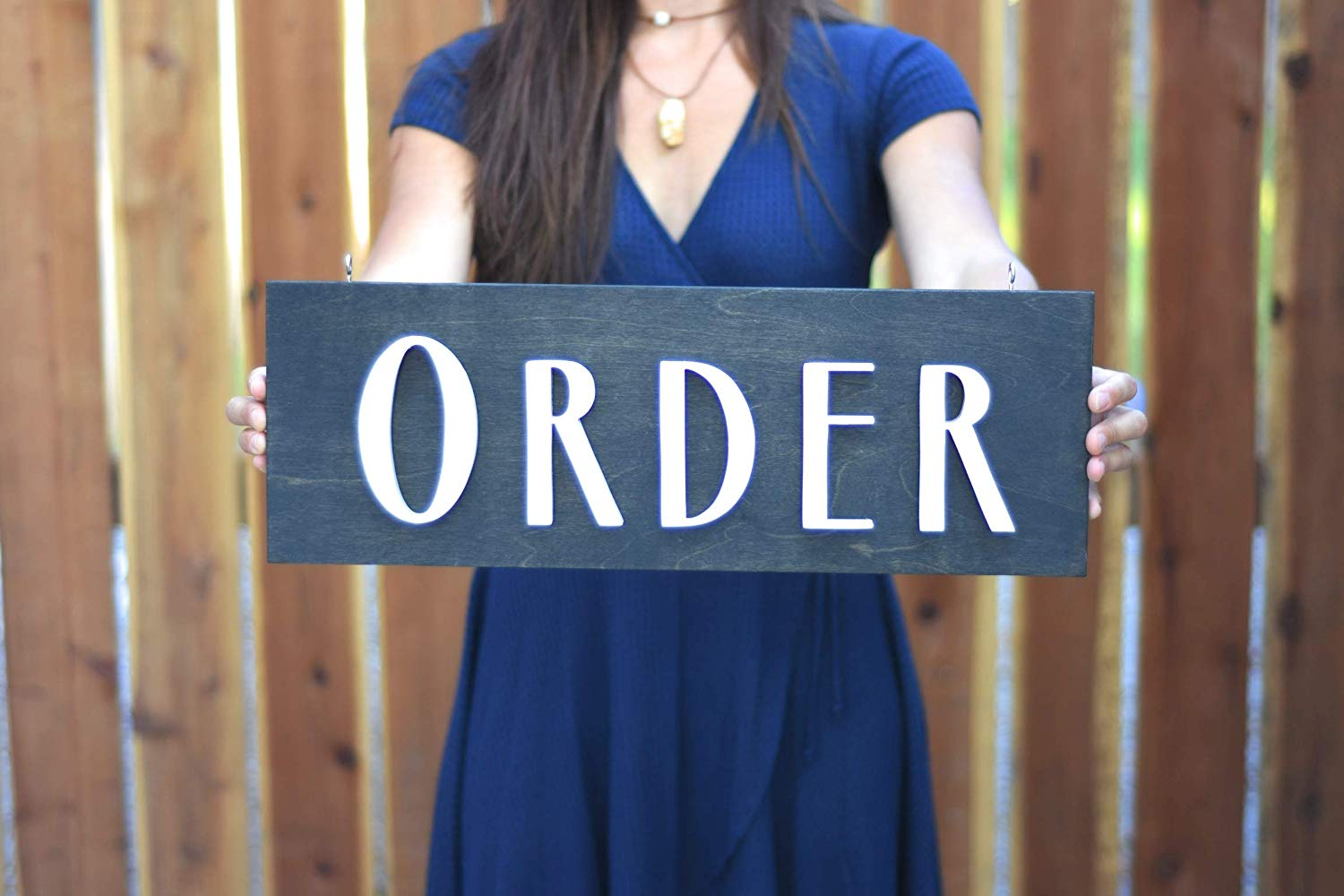 "ORDER and PICK UP signs - 20"" hanging wood sign for restaurant cafe coffee shop storefront business interior decor"