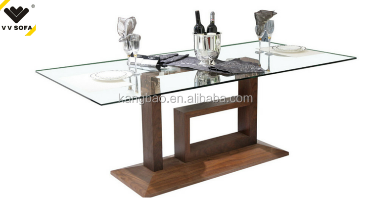 Kangbao Latest Wooden Dining Table With Glass Top Designs