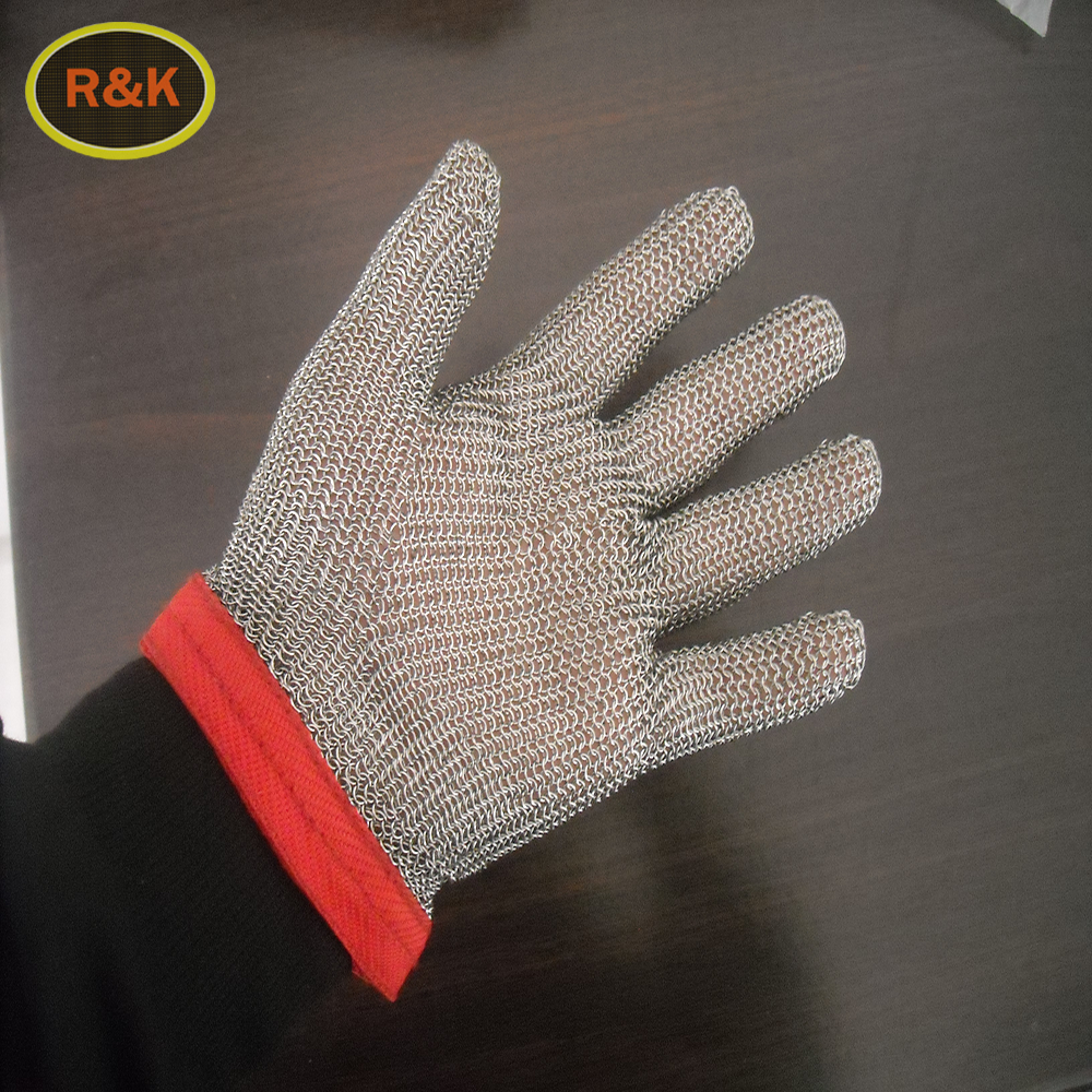Loyal 1 Pair Anti-cutting Breathable Stainless Steel Wire Gloves Working Gloves Black Metal Mesh Meat Glove Anti-cut Level 5 Workplace Safety Supplies Safety Gloves