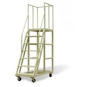 Industrial platform warehouse steel rolling mobile platform ladder and handrail