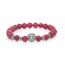 Antique Silver Gold Plated Lion Head Charm with 8mm Red Coral Natural Stone Beads Bracelet For Men Women Yoga Jewelry