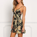 Deep v neck wrap front ruffle hem tropical floral print dress