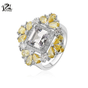 925 sterling silver high quality handing setting clear crystal jewelry ring for wedding