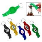Fashion hotel ABS plastic hand hold portable cute sublimation logo round mold sport events water bottle cap opener with keychain