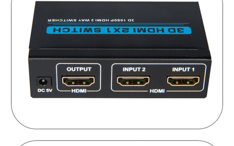 High speed 1080p 2x1 HDMI switch with IR remote controller