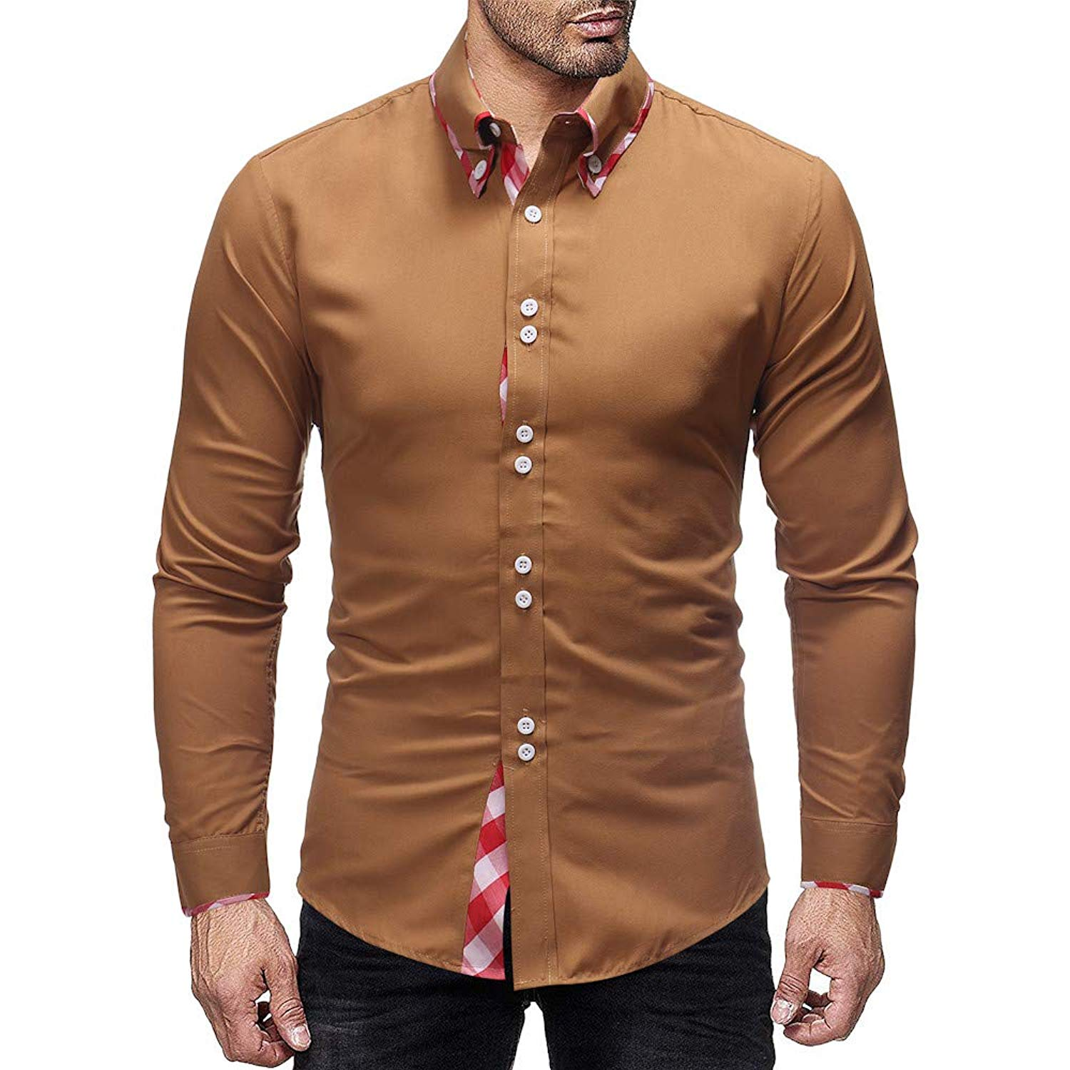 cd14e46ef Get Quotations · Howstar Men s Long Sleeve Blouse Fashion Plaid Shirts  Autumn Winter Slim Fit Tee Tops Patchwork T